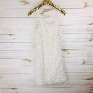 NWT Glam Adjustable Shaggy Mini Dress White S